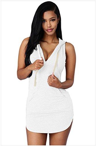 meinice cotone felpa con cappuccio vestito White