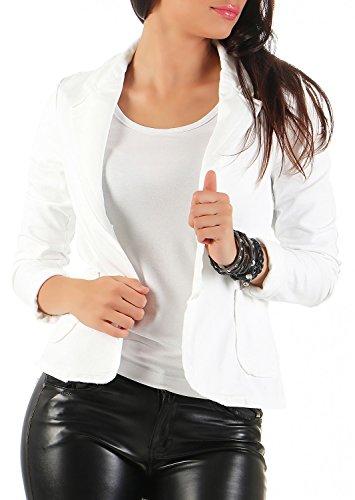Damen Blazer Vintage Style, mit Taschen ( 545 ), Farbe:Weiß, Blazer 1:40 / L