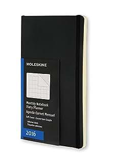 Moleskine 2016 Carnet de notes Mensuel, 12 mois, Format de poche, Noir, Couverture souple (9,5 x 14,3cm)