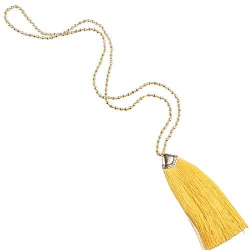 KELITCH Schmuck Silber Bead Kette Glocke Quaste Anhänger Damen-Halskette - Farbe Gelb -