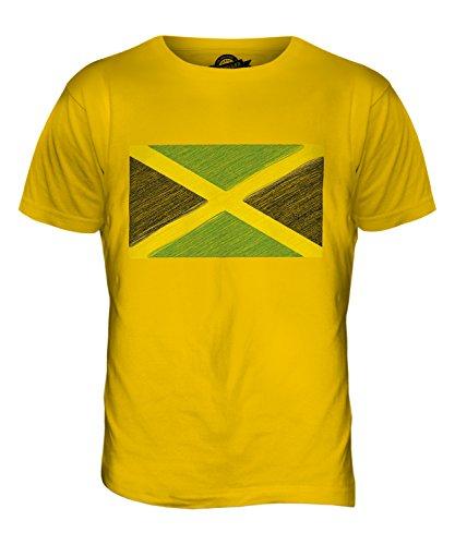 CandyMix Jamaika Kritzelte Flagge Herren T Shirt Dunkelgelb