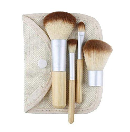 Oyfel Pinceau de Maquillage Professionnel Brosse Cosmétique Manche en Bois Naturel Lot avec poignées en Bois étui Inclus avec Sac Cosmétique Voyager kit