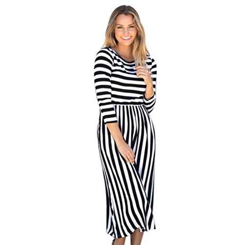 Damen Kleid ,LMMVP Frauen Plus Größen Streifen Kleid Langarm O-Ansatz Langes Kleid (M, (Flapper Plus Kleid Fashion Schwarz)
