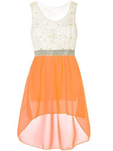 Mädchen Kinder Sommer-Kleid Spitze Glitzer Kurzarm Kunst-Perlen 22286, Farbe:Orange, Größe:176