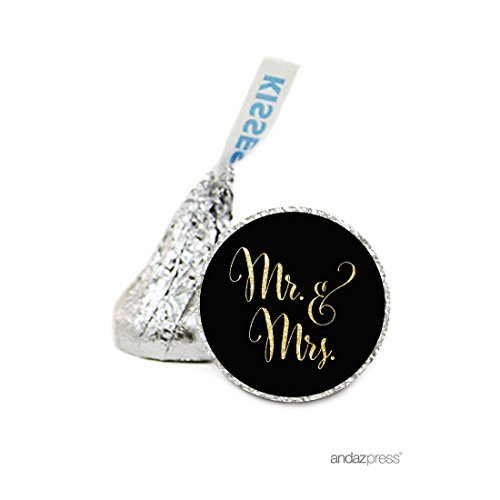 Andaz Press Chocolate Drop Labels Stickers, Wedding, Mr. & Mrs. Black and Faux Gold Glitter, 216-Pack, For Hershey's Kisses Party Favors, Gifts, Decorations by Andaz Press (Gold Hershey Kisses)