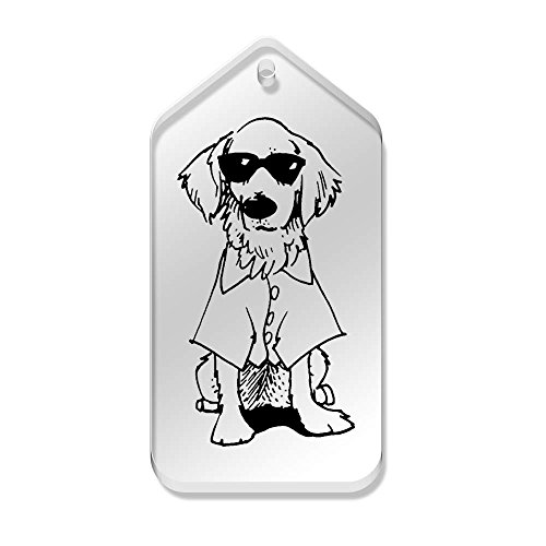 Azeeda 10 x 'Hund mit Sonnenbrille' 66mm x 34mm Klar Tags (TG00074491)
