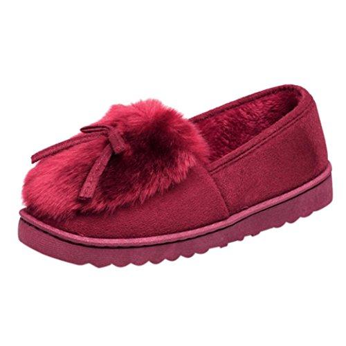 Longra Le donne gregge i pattini piani belli caldi di colore solido Vino Rosso