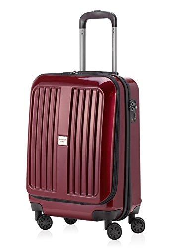 Hauptstadtkoffer Série XBERG Valise à roulette Rouge Bourgogne brillant 42 litres Avec cadenas TSA + Badge à bagage Rouge