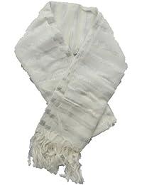 Ladies Cream & Silver Striped Soft Fringed Scarf