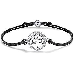 J.Endéar Arbre de Vie Bracelet Femme, 925 Argent Zircone Bracelets Femmes, 24CM Taille Réglable