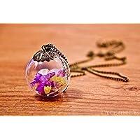 Grande collana in bicchiere - Fiori di Lavanda di mare - Globo 30mm - Idea regalo