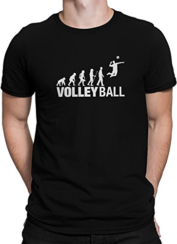 vanVerden Herren T-Shirt Volleyball Evolution Shirt Volley Ball Fan Sport Shirt, Größe:L, Farbe:Schwarz -