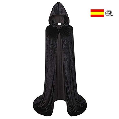 Larga Capa Vampiro Diablo Terciopelo Capucha Disfraz
