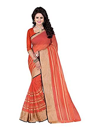 J B Fashion Women's Poly Cotton peach Saree With Blouse Piece