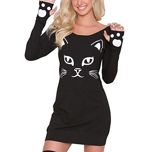 semen Damen Kleid Skelett Kostüm Katze Kleider Schulterfrei Lose Casual Halloween Maske Kostüm Schwartz Partykleider Geist Pulloverkleid (Geist Halloween Katze Kostüm)