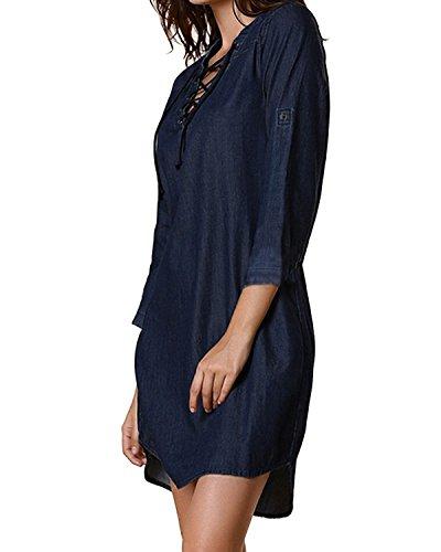 StyleDome Femme Chemise Mini Robe Jean Coton Tunique Longues Large Manches 3/4 Col V Blouse Casual Haut Tops Bleu