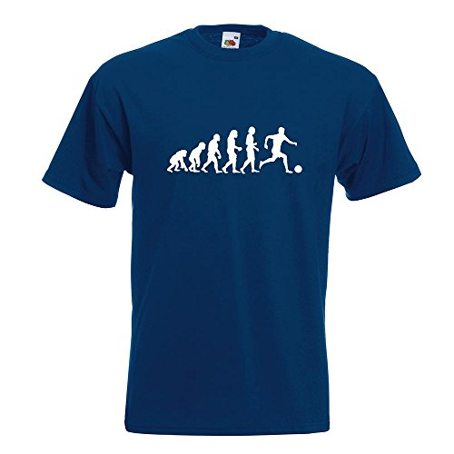 KIWISTAR - Evolution Fussball football Soccer T-Shirt in 15 verschiedenen Farben - Herren Funshirt bedruckt Design Sprüche Spruch Motive Oberteil Baumwolle Print Größe S M L XL XXL Navy