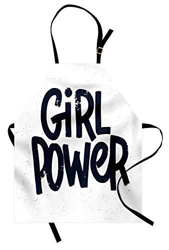 ABAKUHAUS Feminista Delantal de Cocina, Muchacha De La İnscripción De Energía, Resiste Suciedad y Humedad para Uso en Exteriores, Blanco Azul Oscuro