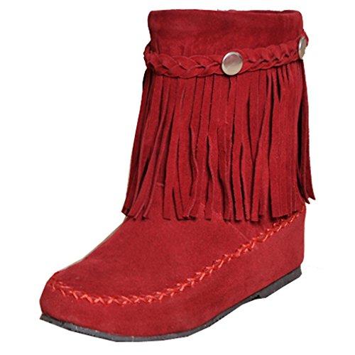 ENMAYER Femmes Doux Nubuck Casual Solides Bout Rond Bottes Tassel Cheville Rouge