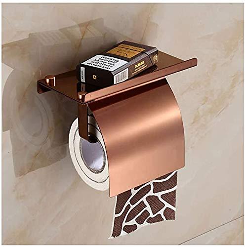 C-ziv Toilettenpapierhalter mit Deckel Toilettenpapierhalter aus Edelstahl mit Telefon-Halter-Wandhalterung,A