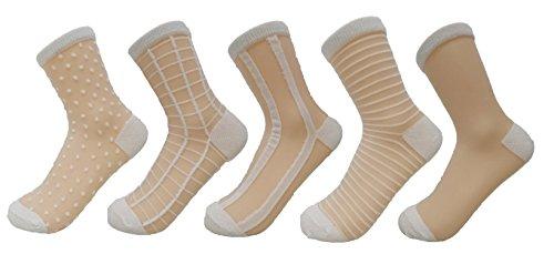 PreSox Frauen schiere transparente Spitze Stickerei Panel Crystal Bling-Bling Socken 5 Pack (5W) - Transparente Schiere