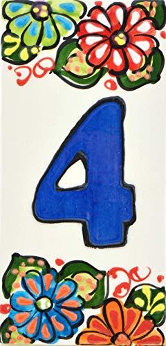 """Hausnummer. Schilder mit Zahlen und Nummern auf Keramikkachel. Handgemalte Kordeltechnik fuer Schilder mit Namen, Adressen und Wegweisern. Design JARDIN 14,5 cm x 7 cm (Nummer VIER\""""4\"""")."""