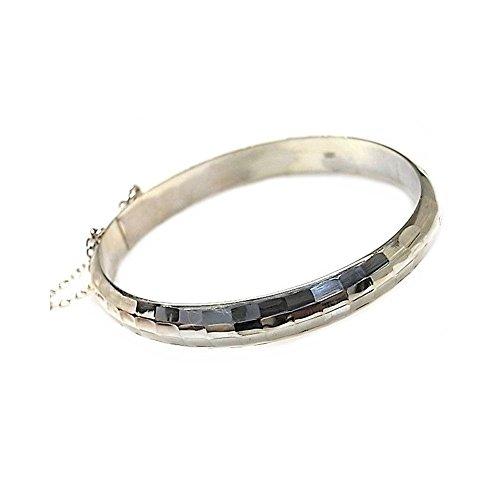 Silber-Armband geschnitzt Rohr Act 9mm 925m Medien. [AB1049] -