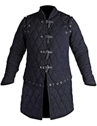 Medieval Thick Padded Full Sleeves Gambeson Coat Aketon Jacket Armor, Cotton Fabric Black