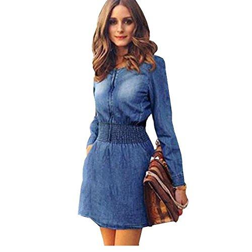 kingfield femmes Denim robe Patineuse à manches longues Taille fin élastique Bleu - Bleu