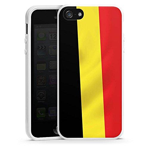 Apple iPhone 4 Housse Étui Silicone Coque Protection Drapeau Belgique Belgique Drapeau Housse en silicone blanc