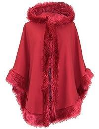 Damen Womens italienischen Lagenlook schrulligen Schichtung mit Kapuze Webpelz Trim Lana Cape Poncho Wollmantel Jacke Größe Plus UK 10-18