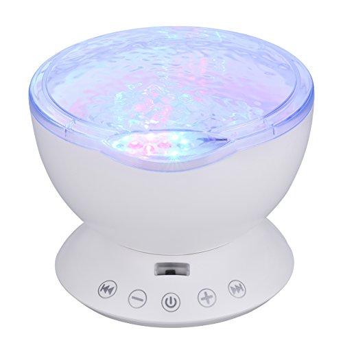 Ozeanwellen Nachtlicht Projektionslampe mit Musik Player, Ozean Meer MP3 Handy Musik Lautsprecher mit Fernbedienung USB-Kabel für Kinderzimmer Erwachsene Schlafzimmer oder Badezimmer uzw.