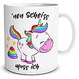 TRIOSK Einhorn Tasse mit Spruch -`NEN Scheiss muss ich - lustiges Geschenk für Frauen, Geschenkidee für Mädchen, Weiß Bunt, 300 ml Keramiktasse, Kaffeetasse für Freundin, Teetasse
