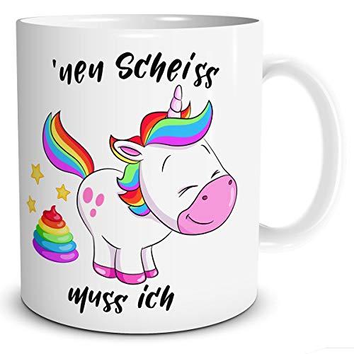 TRIOSK Einhorn Tasse mit NEN Scheiss muss ich Spruch lustig für Frauen Kinder Mädchen Unicorn Regenbogen Geschenk Rosa Bunt