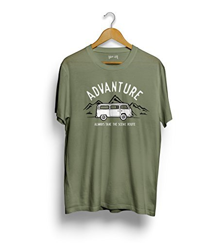 VW T2 Van t-shirt - Volkswagen Transporter tee Advanture, take the panorama straße Reisemobil tee surf bus Grün