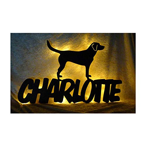 Schlummerlicht24 Led Labrador Hund Deko-Leuchte Nachtlicht Lampe mit Name-n - ausgefallene Zubehör Geschenk-e für alle Hunde-Liebhaber Dog Welpe-n in Schwarz -