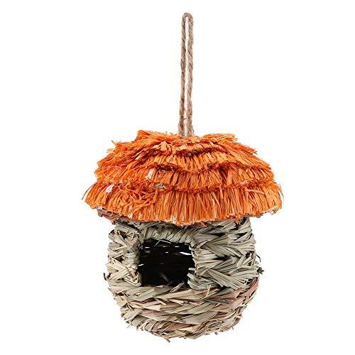 FTVOGUE Casa degli Uccelli di Paglia Feeder Gabbia con Tetto per Nido di Uccello Casetta Nido Intrecciata in Feltro per Uccelli Gabbia Appendere