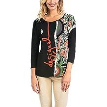 Desigual Carme - T-Shirt - Imprimé - Col Rond - Manches 3/4 - Femme