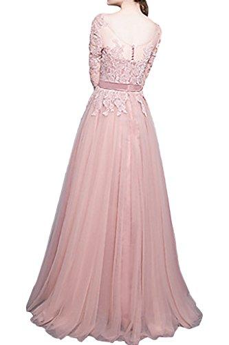 ivyd ressing Damen onirico mezza maniche a linea di pizzo tulle abito del partito Prom abito Fest vestito abito da sera Rosa