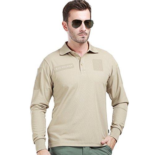 FREE SOLDIER Herren Langarm Polo T-Shirt Taktisches Schnelles Trockenes UV Schutz Atmungsaktivem Poloshirt (Khaki, XXXL)