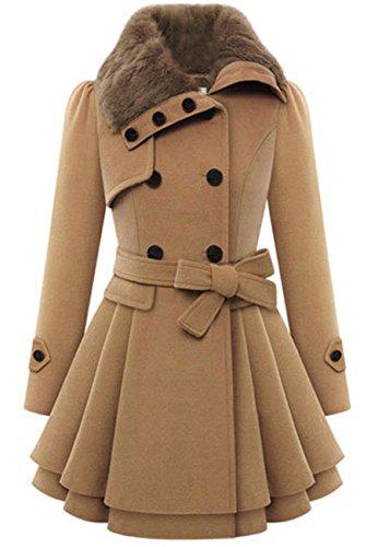 OMZIN Damen Neue Winter Asymmetrische Kleid-Mäntel Schlank Lange Wollmantel Khaki M (Down Parka Goose Hooded)
