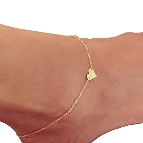 Ankle Bracelet,Saingace Women Lady Pretty Heart Ankle Chain Anklet Bracelet Barefoot Sandal Beach Foot Jewelry Toe Ring Anklet Chain Sparkly Ankle Bracelet (Gold)
