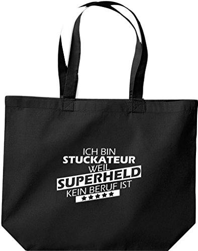 Shirtstown große Einkaufstasche, Ich bin Stuckateur, weil Superheld kein Beruf ist, schwarz