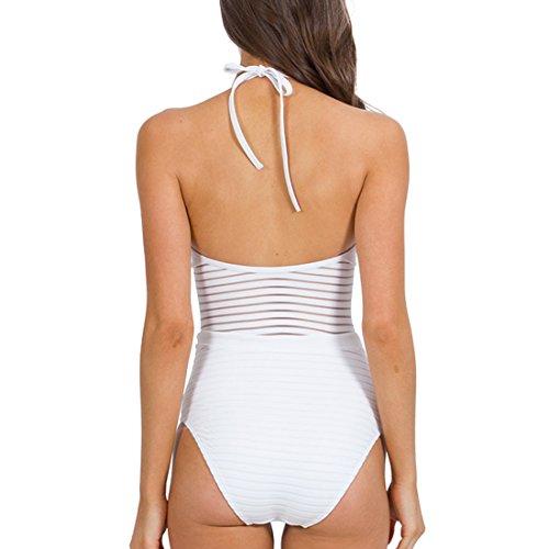 Sitengle Donna Costumi Intero Push up Halterneck Sexy Prospettiva Vuoto Costumi da Bagno Bikinis Swimsuit Beachwear Pezzo Unico Monokini Bianco