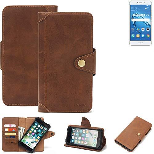 K-S-Trade Handy Hülle für Huawei Y7 Dual SIM Schutzhülle Walletcase Bookstyle Tasche Handyhülle Schutz Case Handytasche Wallet Flipcase Cover PU Braun (1x)