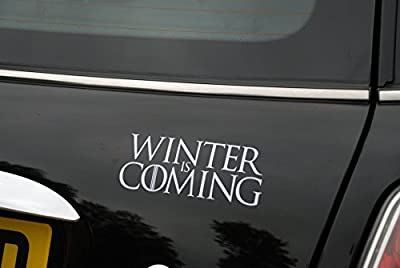 Winter Is Coming Game of Thrones White Car Sticker Decal Vinyl Window Sticker - (one P&P charge no matter how many items you buy from Aerialballs.)