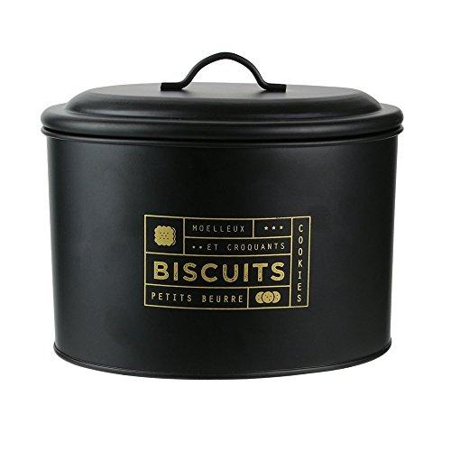 LA BOITE A BT6670 Boite à Biscuits Metal, Noir-Doré, 21 x 14 x 17 cm
