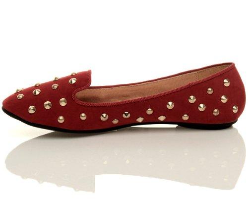 Femmes plat clouté chaussons mocassins flâneur ballerine chaussures pointure Rouge Daim