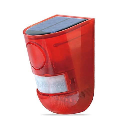 ABEDOE Solar Alarmleuchte,Sicherheitsalarm Warnung Blinklicht 110DB 6 LED Bewegungsmelder mit Sound Rotlicht Wasserdicht,5-8M Schaltabstand  für Haus, Lager, Privatplatz