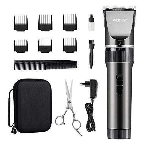 WONER Haarschneidemaschine Profi Haarschneider für Herren Elektrisch Akku- und Netzbetrieb  Haarscherer Maschine Langhaarschneider Haarrasierer Set Haartrimmer 16-teiliges Set für Kinder und Familien